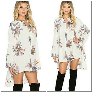 Free People Electric Orchid Print Swing Tunic M